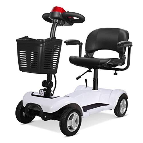 ZHANGYY Klappbarer Mobilitätsroller - 4-Rad-Elektroroller für Erwachsene, tragbarer Mobilitätsroller für ältere Menschen, 300 W 20AH Ausdauer 25 km, Weiß