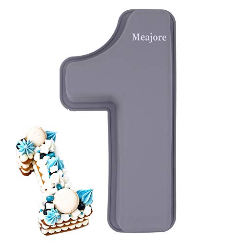 3D Large Number Cake Mould,Silicone Baking Letter Ectangle Novel Cake Tins for Birthday Festival and Relationship Marry Anniversary Wedding Party,10 inch Number of 1
