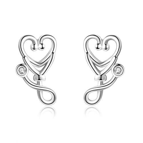 YFN Sterling Silver Stethoscope Jewelry EKG Earrings for Women Doctor Nurse Gift (Stethoscope Earrings)