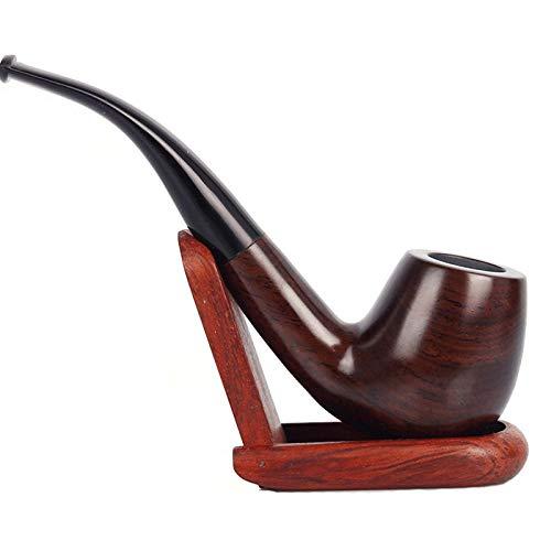 Tubo de fumar tabaco de madera, tubo de tabaco de palisandro, tubo de fumar de madera profundo y a prueba de viento con soporte para tuberías, accesorios para fumar y envuelto con caja de regalo