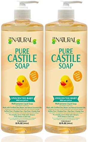 Dr Natural Pure Castile Liquid Baby Soap Unscented 32 Ounce 2 pack Essential Oils Ultra moisturizing product image