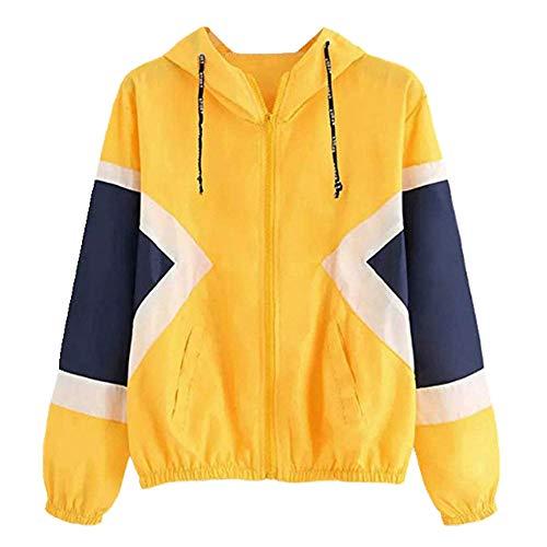 U/A Damen Kapuzenjacken Patchwork Windbreaker Farbblock Mehrfarbig Strahl Taille Mäntel Casual Weibliche Größe Gr. M, gelb