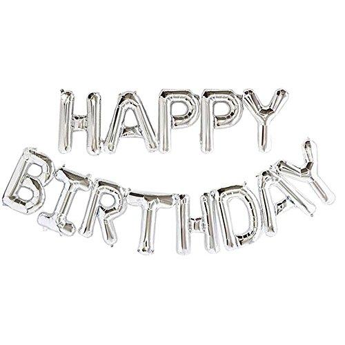 Acryl UK Ltd-Sliver Alfabet 16-inch Letters folie Ballonnen Gelukkig Verjaardag Party Decoratie benodigdheden - Sliver - Opblaasbaar stro inbegrepen - Gemakkelijk opblazen in 10 minuten