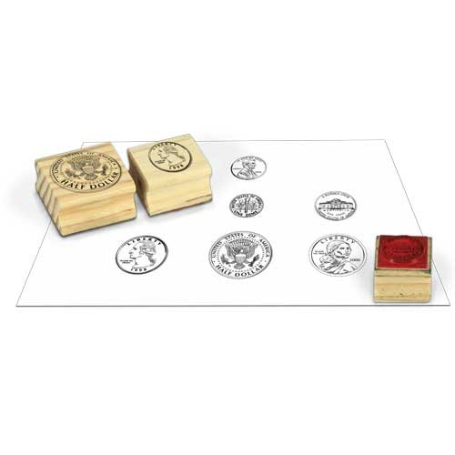 EAI Education Wooden Coin Stamps - Heads: Set of 6