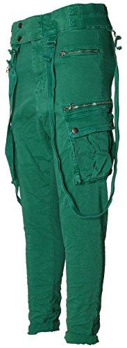 Basic.de Jogging-Hose mit Knopfleiste und Zierträgern/Hosenträgern Melly CO 8161 Grün M