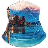 Linger In Calentador de Cuello Escena Nocturna Lago Bled Eslovenia Bufanda Famosa, Polaina de Cuello, Gorra de Cuello Media máscara Pasamontañas Sombreros