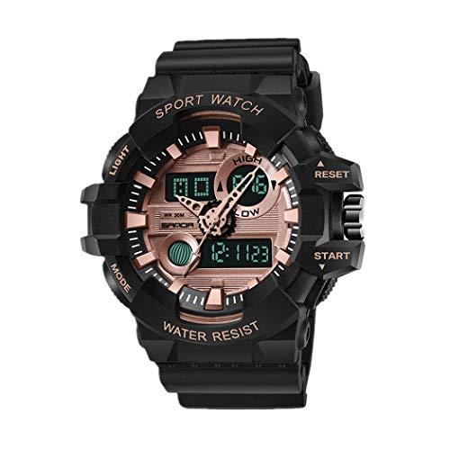 Hombre Relojes, L'ananas Deportes Multifuncional Militar Tropas Especiales LED Relojes de Pulsera Men Watches Wristwatches (Negro+Oro Rosa)