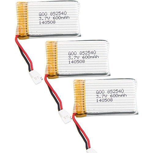 Syma YUNIQUE Italia® 3 Pezzi Batteria Lipo Ricaricabile (3.7v, 600 mAh Lipo) per Rc Droni Quadricotteri X5 X5C X5SC X5SW, Cheerson CX-30W, Skytech M68, Wltoys F949