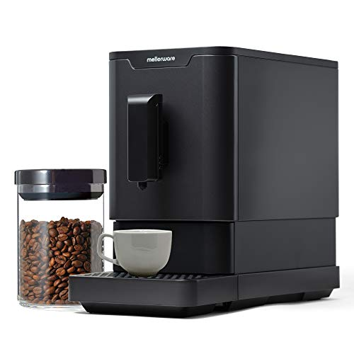 Mellerware Mmmm! Cafetera Superautomática con 19 Bar de presión. Cafetera para Espresso. Sistema Auto-Limpieza. Diseño Elegante y Compacto Negro. 42,5x18x32 cm