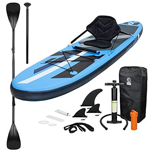 ECD Germany Aufblasbares Stand Up Paddle Board Kajak Sitz | 305 x 78 x 15 cm | Blau | PVC | bis 120kg | inkl. Pumpe Tragetasche Zubehör | SUP Board Paddling Board Paddelboard Surfboard Sitzfunktion