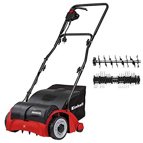 Einhell GC-SA 1231/1 - Escarificadora eléctrica (1200 W, 230V, 3 niveles de profundidad, ancho de trabajo: 31cm, capacidad de bolsa: 28L, con rodillo aireador) (ref. 3420620)