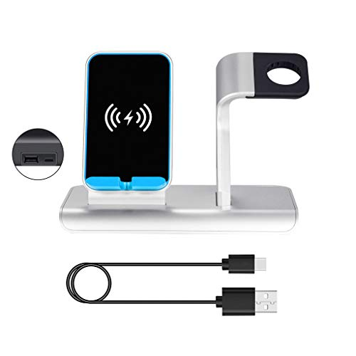 WEISHAZI - Base de carga rápida inalámbrica 2 en 1 de 10 W para iPhone X XS XR 8 Plus Samsung Huawei Mate 20 Cradle-Halter para Apple Watch 1/2/3/4 Serie plata