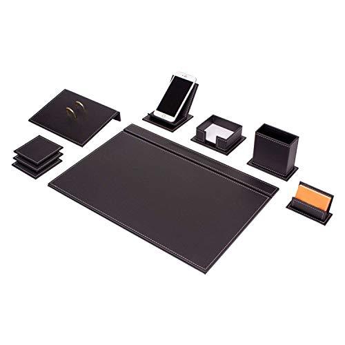 Vegan 9-delige kantooraccessoires bureauset leer, bureau set met mobiele telefoon houder en 2 naaiselecties, bureauonderlegger set in zwart, naaikleur: wit