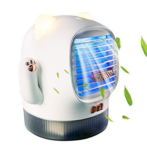 Auleset Evaporative Air Cooler, Portable Air Conditioner, 400ml Portable Lucky Cat USB Air Conditioner Humidifier Office Mini Cooling Fan White USB Plug-in*