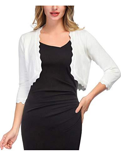 KANCY KOLE Women's 3/4 Sleeve Ivory Knit Cardigan for Dress 1950s Style Shrugs Sweaters (Ivory,M)
