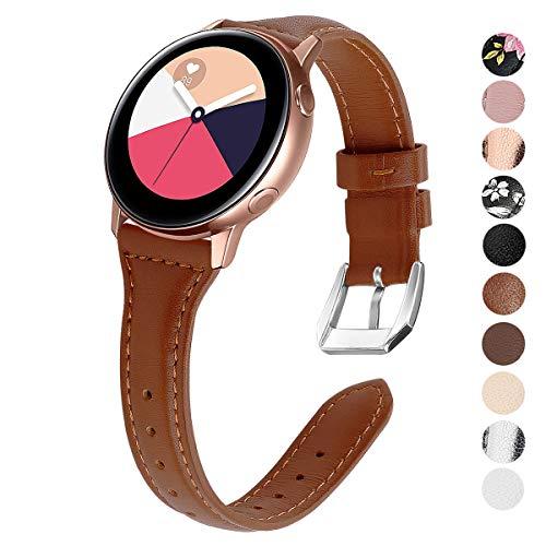 KIMILAR Pulseras Compatible con Samsung Galaxy Watch Active/42mm/Active 2 (40/44mm) Correa Cuero, Reemplazo de Banda de la Muñeca Compatible con Garmin Vivoactive 3,Ticwatch 2,Gear Sport -Marrón