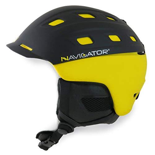NAVIGATOR Parrot Ski-Helm & Snowboardhelm mit TÜV & CE-Zertifiziert, Dank innovativer Kombination aus ABS & Inmould Technologie hat Dieser Helm weniger Gewicht bei gleicher Sicherheit, GELB, XS-M