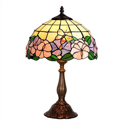 HAUSELIEBE Lampara de Sobremesa Estilo Tiffany, Vidrieras de Colores Estilo Lámpara de Sobremesa Flores Patrón Lámpara de Dormitorio Lámpara de Noche para La Sala de Estar(Ancho: 30 cm)