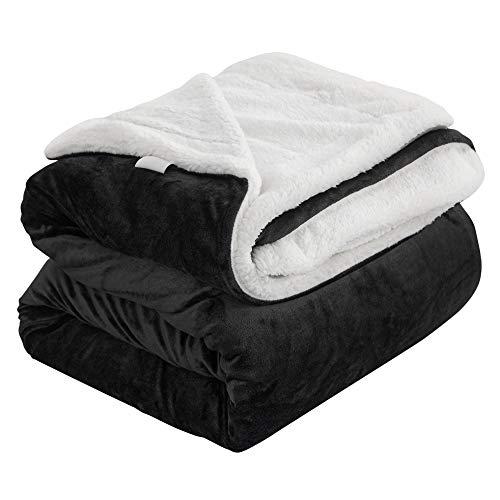 ZOJI Sherpa Decke Anthrazit hochwertige Wohndecken Kuscheldecken, extra Dicke warm Sofadecke/Couchdecke in zweiseitig, 137x191 cm super flausch Fleecedecke als Sofaüberwurf oder Wohnzimmerdecke
