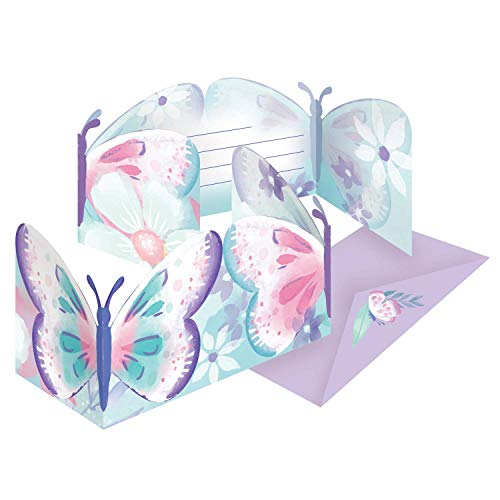 Amscan 9909726 - Einladungskarten Flutter mit Umschlägen, 8 Stück, Papier, Schmetterling, Kindergeburtstag