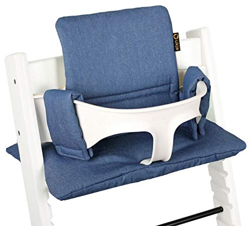 Cojín reductor de asiento de UKJE para Stokke Tripp Trapp Baby Set Jeans de algodón acolchado bonito y grueso azul claro, lavable a máquina, 2 piezas, algodón Öko-Tex, algodón