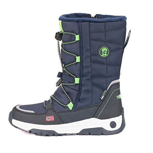 Trollkids wasserdichte Nordkapp Winter Schuhe, Marineblau/Hellgrün, Größe 35
