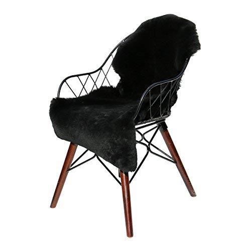 Hollert German Leather Fashion Peau de Mouton Noir Tondu Peau de Mouton Mérinos Fourrure Véritable Tapis D'Entrée Coussin de Siège Décoration Lavable - Noir, 80-90