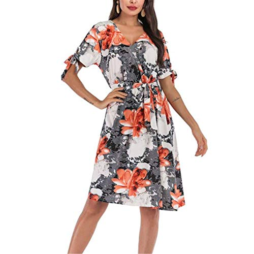 Chiffon Floral Swing Damen Sommerkleid lang Rock New Little Fragrance Gr. Small, Fotofarbe 2