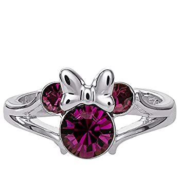 Disney Minnie Mouse Birthstone Jewelry Silver Plated Amethyst Purple Crystal February Ring Size 4,