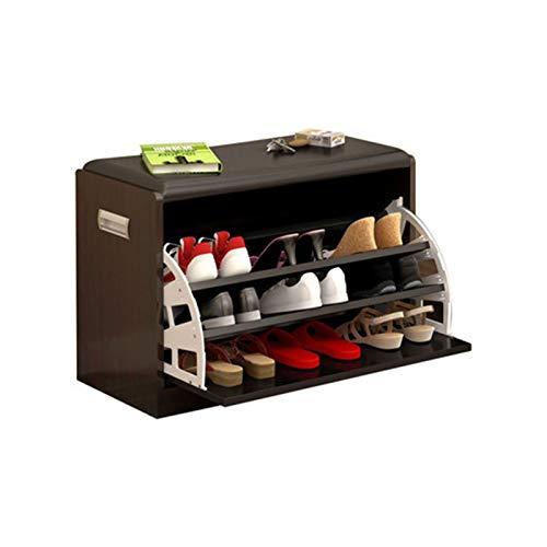 Banco de almacenamiento con 3 defleños y cojín de asiento acolchado, banco de zapatos de zapatos Banco de zapatos Banco de zapatos, banco de zapatos, organizador de zapatos de 3 niveles, equipo de zap