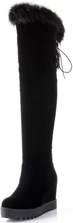 Hoxekle kvinna Over The Knee stövlar Wedge Height Stigande Stigande Stigande Slip On Lace Up Faux Fur Platfrom Ladies Sexy Winter skor  spara 35% - 70% rabatt