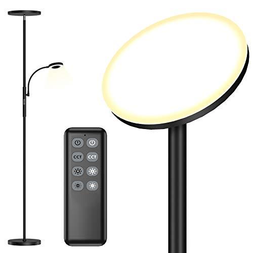 Stehlampe LED Dimmbar 30W Deckenfluter mit 7W Leselampe und Fernbedienung, Touch Stehleuchte, Modern Standleuchte 2500+500 Lumen 3 Farbtemperaturen für Wohnzimmer Schlafzimmer Büro