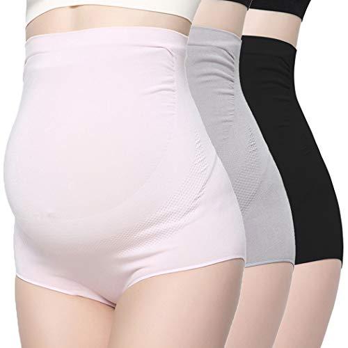 COLOMI - Ropa interior de maternidad para mujer, sin costuras, cintura alta, soporte para embarazo, calzoncillos