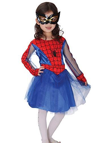 KIRALOVE Disfraz - niña araña - niña - Carnaval - Halloween - Cosplay - Talla l - 6/7 años - Idea de Regalo Cosplay