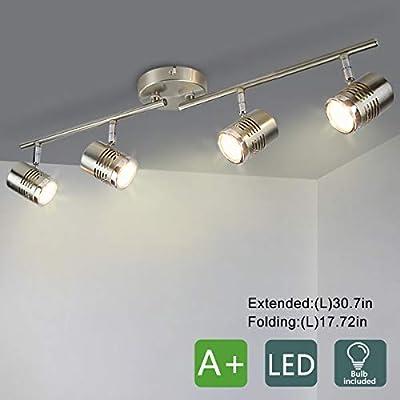 DLLT Led Track Light,Complete Track Lighting Kits, Flush Mount Ceiling Spot Lights gu10 Bulbs(Included) for Kitchen, Dining Room, Bedroom, Hallway, 4 Lights-Warm Light