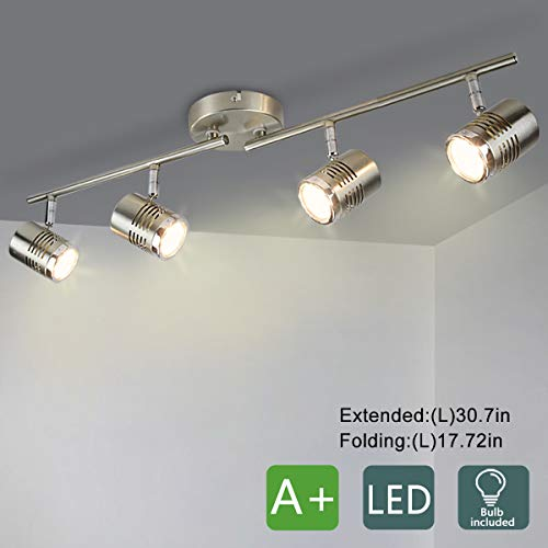 DLLT Led Track Light,Complete Track Lighting Kits, Flush Mount Ceiling Spot Lights gu10 Bulbs(Included) for Kitchen, Dining Room, Bedroom, Hallway, 4 Lights-Warm Light