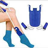Strumpfanzieher Strumpfanziehhilfe Anziehhilfe für Socken und Strümpfe Für Senioren Oder Körperlich Eingeschränkte Menschen (Blau)