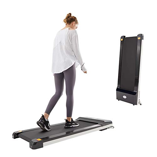 UMAY Under Desk Treadmill for Home & Office with Foldable Frames, Walking Pad Small Flat Treadmill Machine with Low Noise & Sports App for Small Spaces