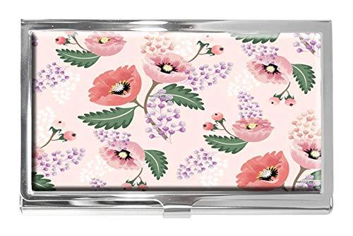 Visitenkartenetui aus Edelstahl mit Frühlingsblumen-Motiv für Damen und Herren