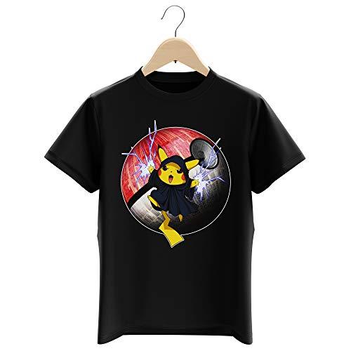 T-Shirt Enfant Garçon Noir Parodie Star Wars - Pokémon - Pikachu et Palpatine Darth Sidious - Pika Dark Side : (T-Shirt Enfant de qualité Premium de Taille 11-12 Ans - imprimé en France)