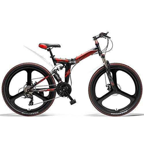 26 Inch Folding Bicycle, 21 Speed Mountain Bike, Front & Rear Disc Brake, Integrated Wheel, Full Suspension (Black Red)