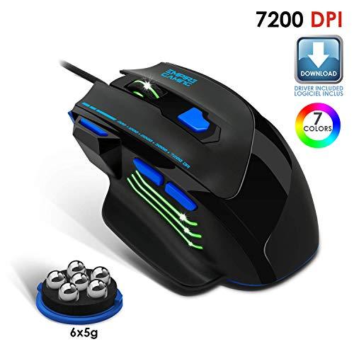 EMPIRE GAMING – Nuevo – Ratón Gamer por Cable Hellhounds – 7200 dpi – 7 Botones programables con Software – Retroiluminación RGB – Forma ergonómica