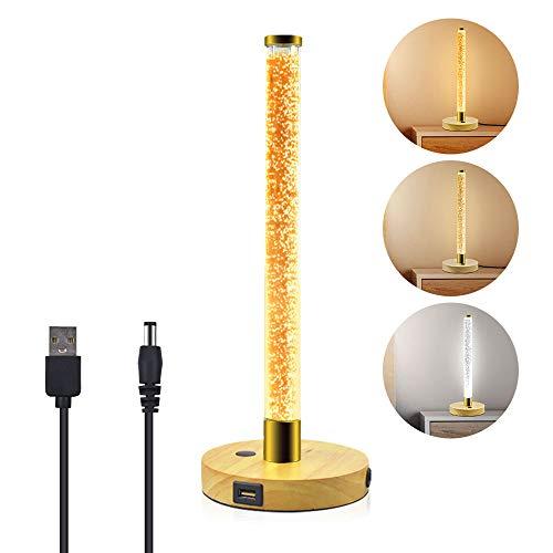 Bonlux Tischlampe LED Dimmbar Berührungssensor Lampe 5W Mordern Touchleuchte 3 Farbe Dekorative Nachttischlampe aus Holz und PMMA mit USB-Anschluss für Hotel Shop Wohnzimmer Schlafzimmer