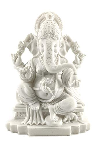 Bellaa 23613ergänzen Beautiful Statuen Hindu Viel Glück Gott (Segen weiß Ganesha)