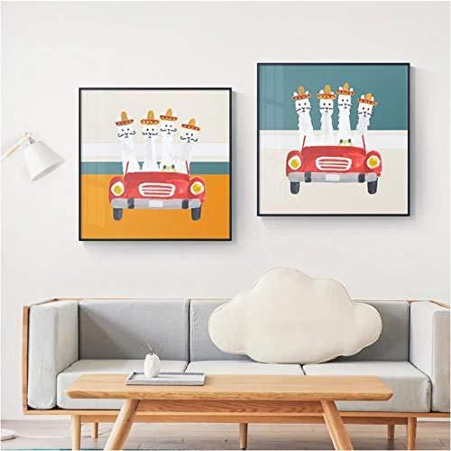 Nodic cartoon auto canvas schilderij poster en afdrukken schattige huisdecoratie mooie muurkunst schilderijen voor woonkamer slaapkamer kinderkamer 50x50cmx2 niet ingelijst