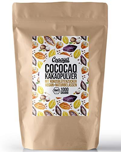 Copaya COCOCAO, Bio Kakaopulver mit Bio Kokosblütenzucker, Heiße Schokolade aus Rohkakao, Kakao Pulver vegan (1000g)