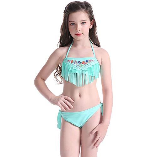 Traje De Baño De Niña,Traje De Baño Bikini De Dos Piezas, Niña De 5-14 Años Nadar Ropa,Borla Bordada Diseño, para Baño Playa Fiesta Piscina,152