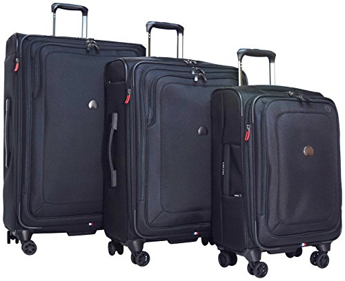 Delsey Luggage Cruise Lite Softside 3 Piece Set (21'/25'/29') Spinner Suitcase (Black)