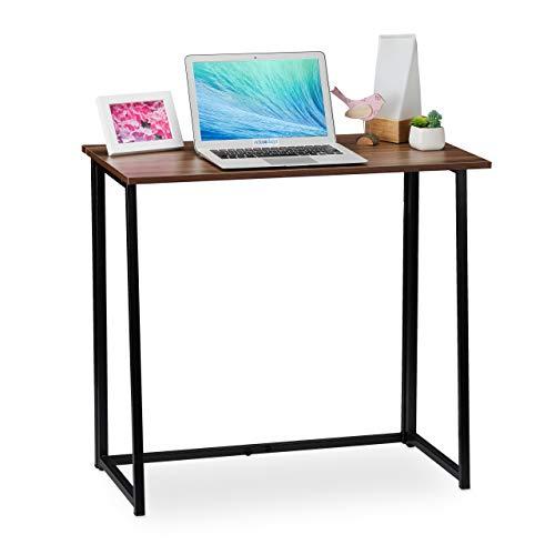 Relaxdays Schreibtisch klappbar, platzsparender Bürotisch, Home Office, Jugendzimmer, 74,5 x 80 x 45 cm, braun/schwarz