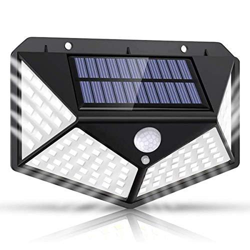 Luz Solar Exterior 100 LED, Lspcsw Focos Led Exterior Solares con Sensor de Movimiento Impermeable Ángulo 270º de Iluminación Luces Solares Led Exterior Jardin 4 lados【Actualizada 1000 Lumens】